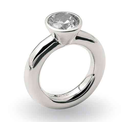 Solitaire Ring 925/- Silber - Zirkonia 10 mm