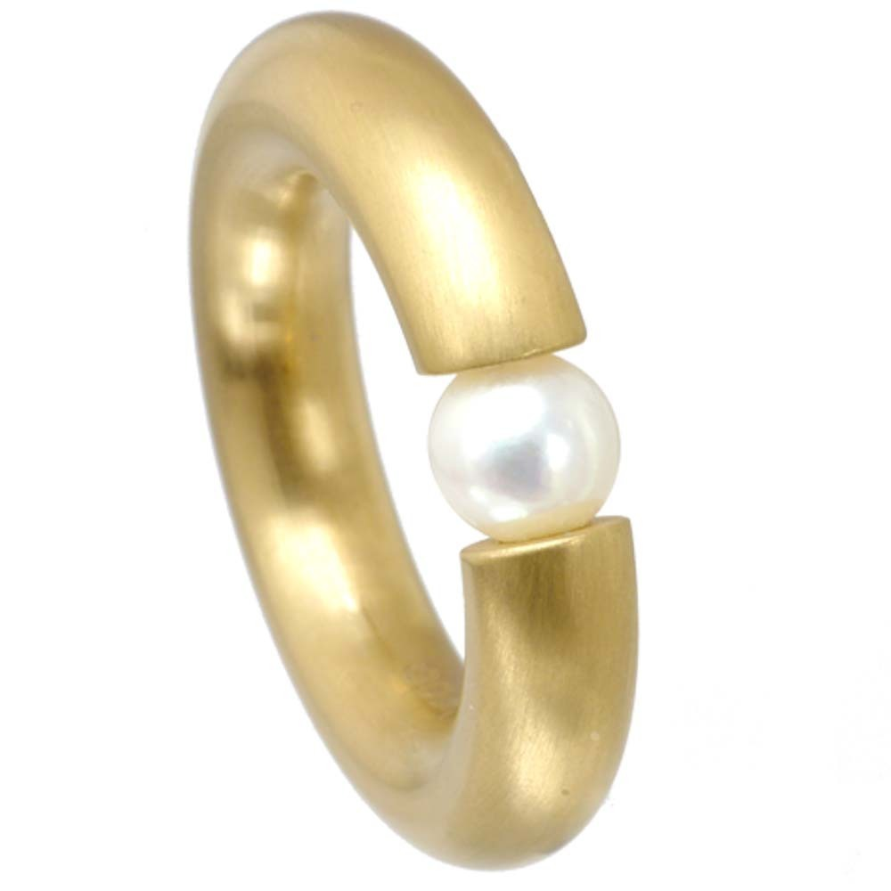 Ring 5 5 Mm Pvd Gold Brushed Pearl Rich Infusions