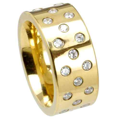 Ring Stars 10 mm - PVD Gold - Zirkonia