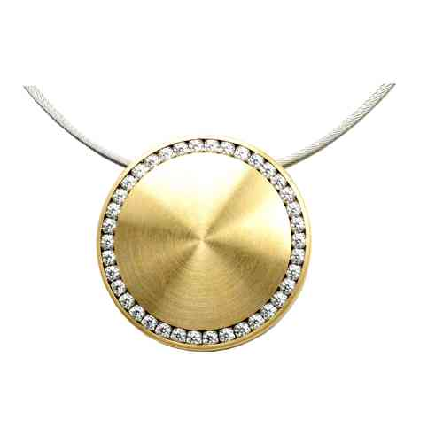 Collier Disque PVD Gold 25 mm - Zirkonia