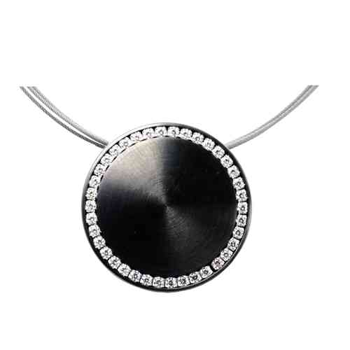 Collier Disque PVD Black 25 mm - Zirkonia