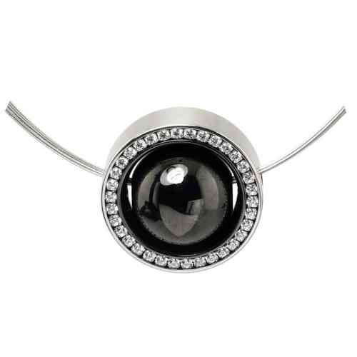 Collier Spinning Bubble Black - Zirkonia