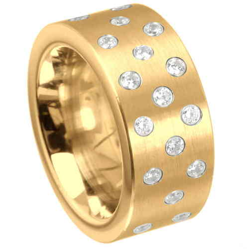 Ring Stars 10 mm - PVD Gold matt - Zirkonia