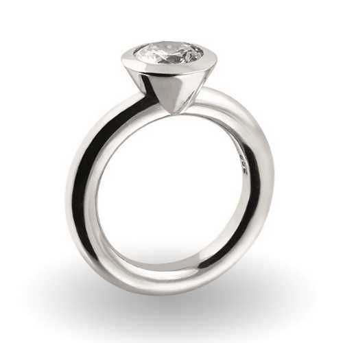 Solitaire Ring 925/- Silber - Zirkonia 8 mm