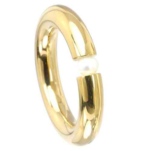 Spannring 4,5 mm PVD Gold poliert - Perle