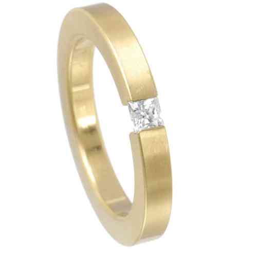 Spannring Square 3 mm PVD Gold matt - Zirkonia