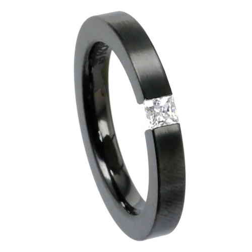 Spannring Square 3 mm PVD Black matt - Zirkonia