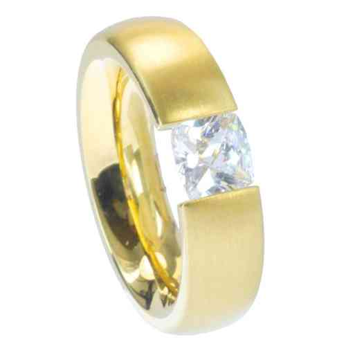 Ring Radiant PVD Gold 6 mm matt - Zirkonia