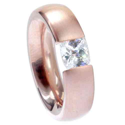 Ring Radiant Rosègold vergoldet 6 mm matt - Zirkonia