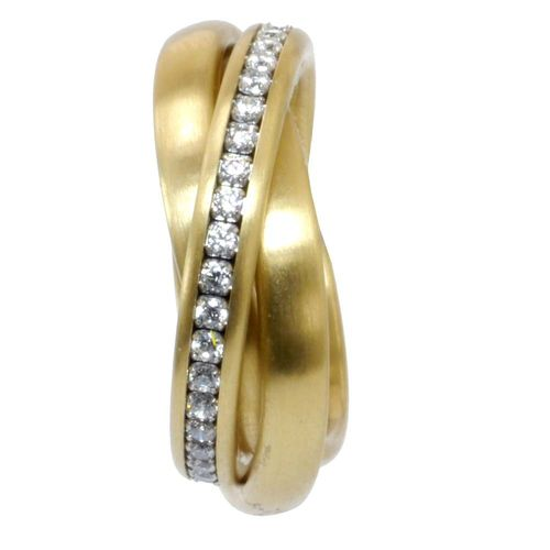 Trilogie 3er Ring 4 mm PVD Gold - Zirkonia
