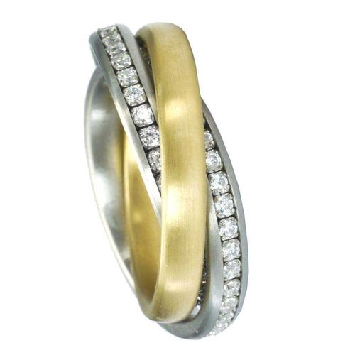 Trilogie Duo Memoire PVD Gold - 3er Ring 4 mm - Zirkonia