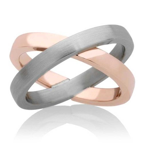 Eyecatcher Ring Bridge - Bicolor Edelstahl Roségold vergoldet