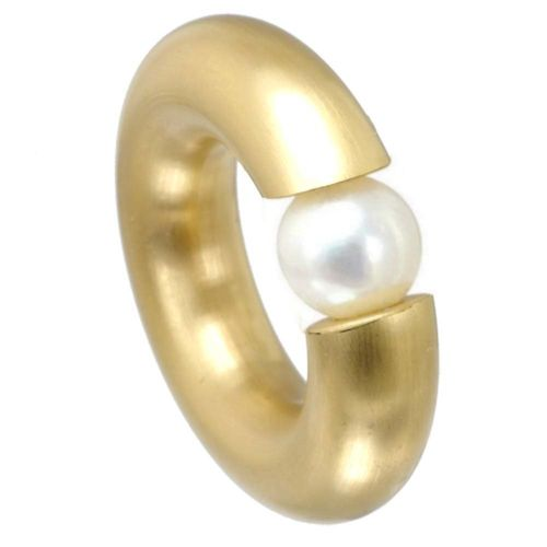 Spannring 7 mm PVD Gold matt - Perle
