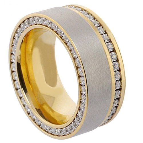 Duo-Memoire Ring - Gold plattiert - 10 mm - Zirkonia