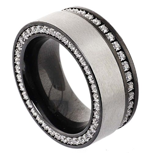 Duo-Memoire Ring - PVD black - 10 mm - Zirkonia